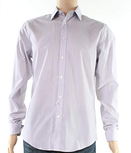 DKNY White Mens Slim-Fit Striped Print Dress Shirt Purple 15