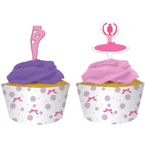 Creative Converting Tutu Much Fun Cupcake Pick Decorations with Matching Baking Cup Wrappers, 12 Count