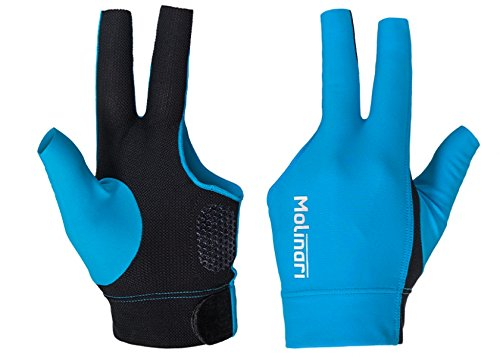 Molinari Fingerless Glove V2 Professional Billiard Accessories in Cyan/Black Color for Carom Pool RHP Right Handed Players
