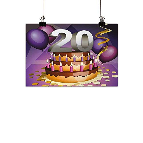 Anzhutwelve 20th Birthday Abstract Painting Cartoon Print of a Birthday Cake Golden Colored Frosting and Candles Natural Art Purple and Lilac 47