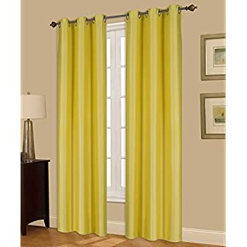 "GorgeousHome (N32) 1 Solid Window Curtain Silver Grommet Top Foam Lined Backing Insulated Thermal Blackout Drape Panel (84"" Long, Yellow)"