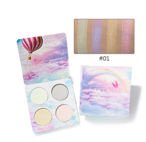 - Tmrow 1Pc 4 Color Highlighter Makeup Palette Illuminating Chameleon Contour Powder Kit,1#