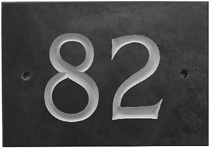 The House Nameplate Company Num/éro de Rue en Ardoise Noir Number 34 Gris Anthracite fonc/é//Gris Ardoise