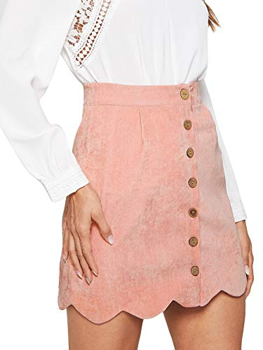 WDIRARA Women's Casual Plaid High Waist Button Closure A-line Mini Short Skirt Pink M