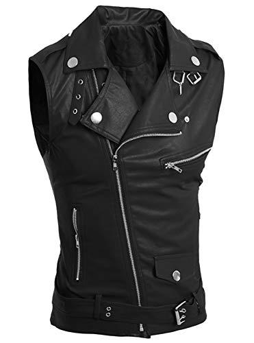 LifeHe Men's PU Leather Punk Zipper Sleeveless Vests Jacket (Black, M)
