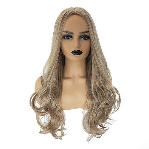 Women Long Wavy Hair Light Brown Wigs, Heat Resistant Natural Fashion Curly Full Synthetic Fiber Wig Lifelike Hair Extensions Daily Party Dating Cosplay (Length:28 inches, Light -