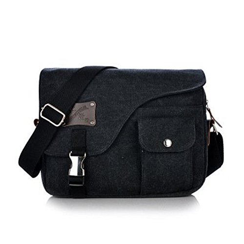 Rhumen Retro Vintage Cross Body Bag Shoulder Bags Casual Handbag (Black)