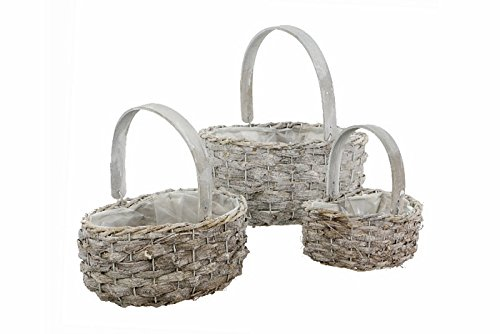 Renaissance 2000 Rattan Basket with Wooden Handle 3 Piece