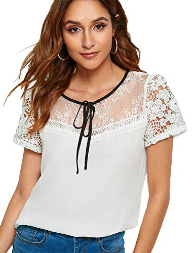 Romwe Women's Embroidered Floral Self-Tie Mesh Lace Blouse Top S White ()