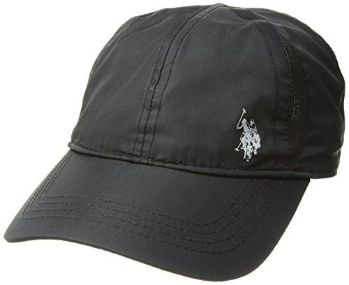 U.S. Polo Assn. Women's Nylon Mesh Baseball Cap, Gel Print Log, Adjustable, Black, One ()