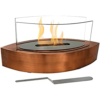 Sunnydaze Barco Ventless Tabletop Bio Ethanol Fireplace, Copper