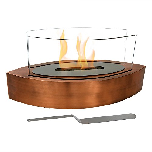 Sunnydaze Barco Tabletop Fireplace, Indoor Ventless Bio Ethanol Fire Pit, Long Lasting Burn Time, Copper ()