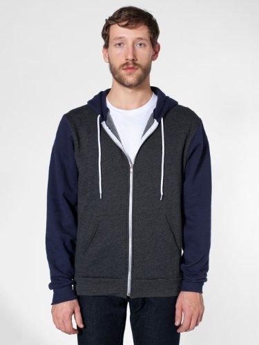American Apparel Men's Two Tone Flex Fleece Zip Hoody Medium Dark Heather Grey/ Navy