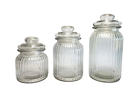 Vorratsgläser 3er Set, Candy Gläser, Tee-Aufbewahrungsglas, Müsli-Glas, Vorratsglas, Bonbonglas, Dekoglas, Höhe 15, 18 und 23 cm