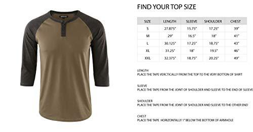 2378402a ... DESPLATO Men's Casual Vintage 3/4 Sleeve Henley Baseball Jersey Knit T  Shirts H. ...