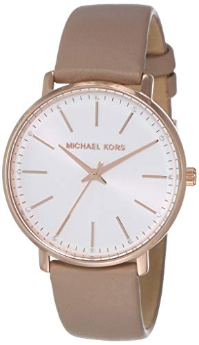 Michael Kors Women's Pyper Stainless Steel Quartz Watch with Leather Strap, Rose Gold/Brown/White, 18 ()