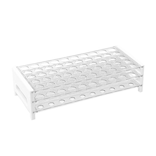 (Plastic Test Tube Rack, 15/16mm, 50-Place, Clear, Detachable, Polystyrene, Karter Scientific 403J2 (Single))