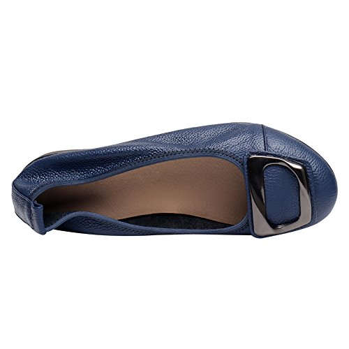Tacco Suola Jamron Vera Zeppa Pelle Ballerine Morbida Blu Pantofole Scarpe Comfort a Basso Donna Rw8wZaxqXT