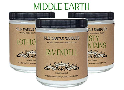 Middle Earth Book Candles Set, Literary Lovers Gifts, Bookshelf Decor, (3) 4oz Candles - Lord Glass Candle