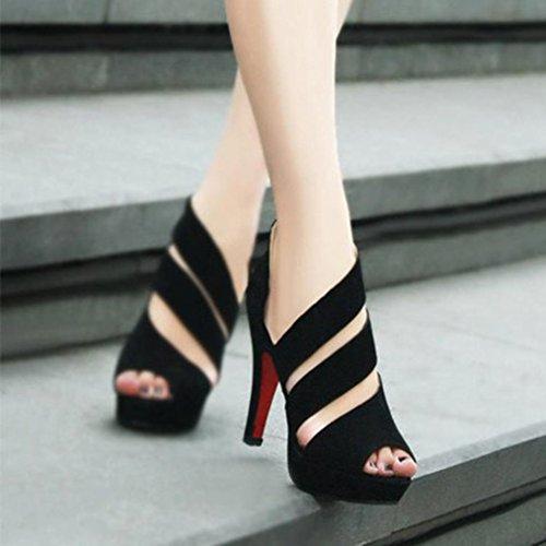 Frühling Schuhe Schwarz Schuhe Heels Lässig Heels Sandalen Peep Mädchen Toe High Thin Elegante Upxiang Damen Stiletto Fashion Pa040x