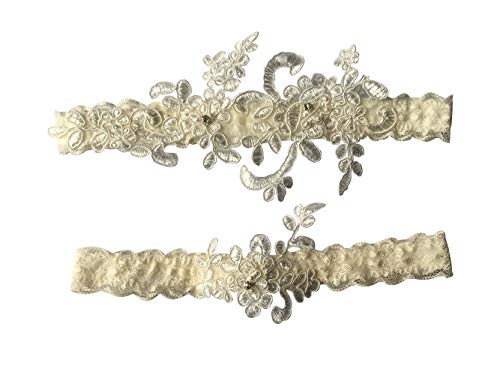 YuRong Wedding Garter Set Beaded Lace Garter Set Bridal Lace Garter Wedding Gift G01 (Ivory) ()