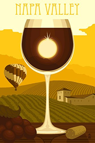 Napa Valley, California Wine Glass and Vineyard Wall Decor Travel Poster by Lantern Press