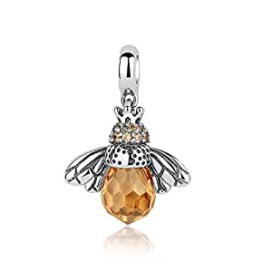 Qings 925 Sterling Silver Queen Honey Bee Little Bumblebee Pendant for Necklace Bracelet