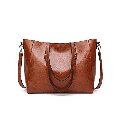 Coolives Señora Tote Bag Bolso de la PU Bolso de mujer Bolso con un solo hombro Bolso de Crossbody Bolso de señora Bolso de moda bolso vintage Paquete de gran capacidad Marrón