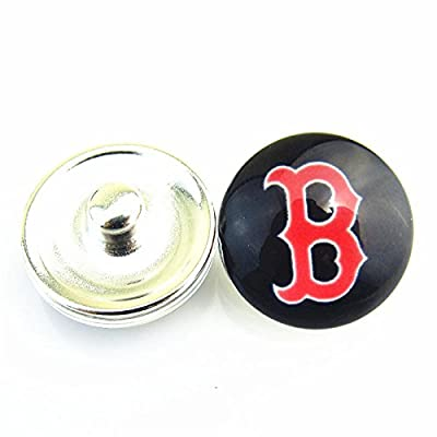 Generic 12ps_MLB_Boston_Red_Sox_Baseball_Hat_Logo_Sports_18mm_Ginger_Snap_Button_ Jewelry