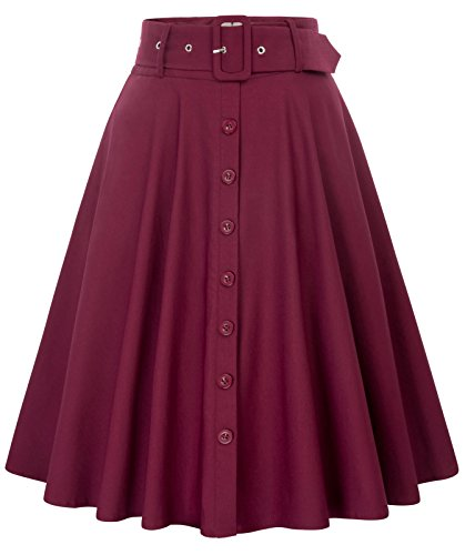 (Belle Poque Women's A-Line Flared Swing Midi Skirt with Pockets Wine Size S BP571-2 )