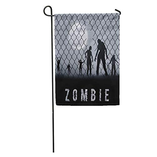 Dinzisalugg Garden Flag Arrest Zombie Walking at Night Silhouettes for Halloween Businessman Cage Home Yard House Decor Barnner Outdoor Stand 12x18 Inches Flag -