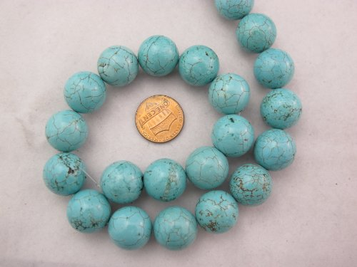 Magnesite Turqoise Dyed Blue Round Beads 16mm 26pcs 16'' Per Strand