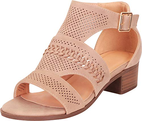 Cambridge Select Women's Open Toe Cutout Perforated Whipstitch Chunky Block Heel Ankle Bootie,7 B(M) US,Khaki PU ()