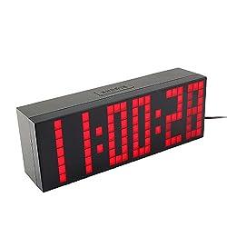 Yosoo Large Big 4 6 Digit Jumbo LED Digital Alarm Calendar Snooze Wall Desk Clock (red, 6-digit version)