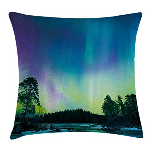 """Ambesonne Aurora Borealis Throw Pillow Cushion Cover, Sky Over Lake Surrounded Forest Woods Hemisphere Print, Decorative Square Accent Pillow Case, 20"""" X 20"""", Violet Green"""