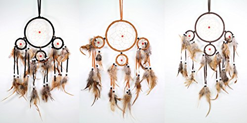 Set of 3 Assorted Colors Handmade Dream Catcher With Feathers Wall Hanging Decoration Ornament Gift