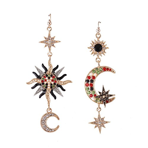 MengPa Star Dangle Earrings for Women Sun Moon Mismatched Crystal Vintage Asymmetrical Jewelry