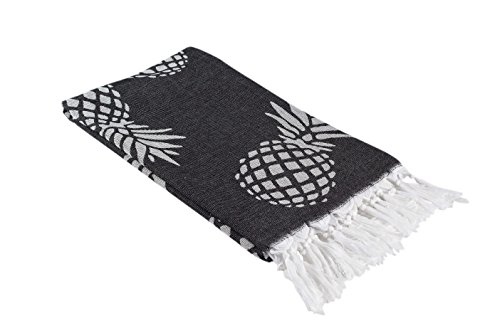 Pineapple Print Turkish Towel in an Extra Large Size, Thin Peshtemal Beach Towel or Bath Towel in Black and White