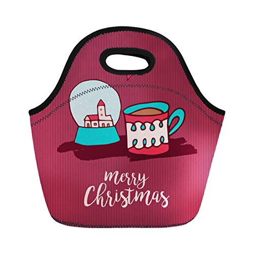 Semtomn Neoprene Lunch Tote Bag Merry Christmas Cute Xmas Snow Globe and Hot Chocolate Reusable Cooler Bags Insulated Thermal Picnic Handbag for ()