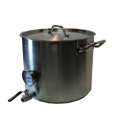 HomeBrewStuff Heavy Duty 15 Gallon Home Beer Brewing Kettle w/ Valve and Thermometer by Home Brew Stuff