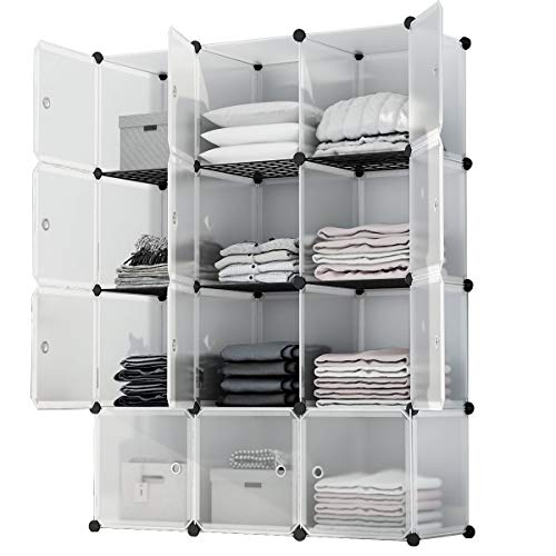 KOUSI Portable Storage Shelf Cube Shelving Bookcase Bookshelf Cubby Organizing Closet Toy Organizer Cabinet, Transparent White, 12 Cubes Storage