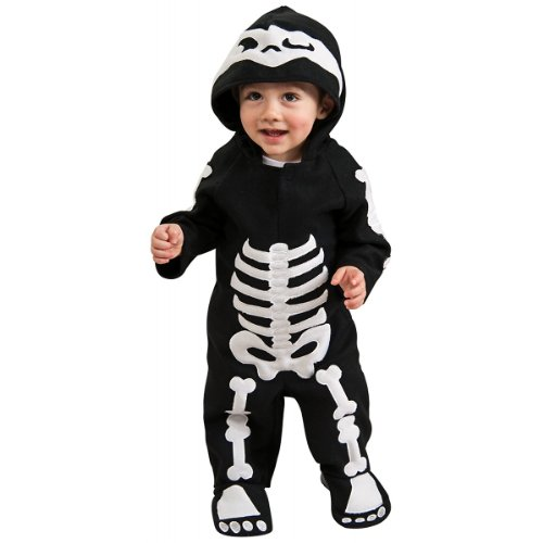 Infant Onesie Halloween Costumes (Rubie's Costume Baby Skeleton Romper Costume, Black/White, 6-12 Months)
