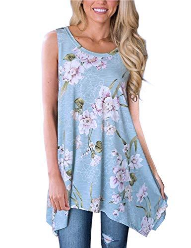 - Koscacy Women Summer Casual Floral Tank Top Crewneck Asymmetrical Flowy Shirt (Light Blue, Large)