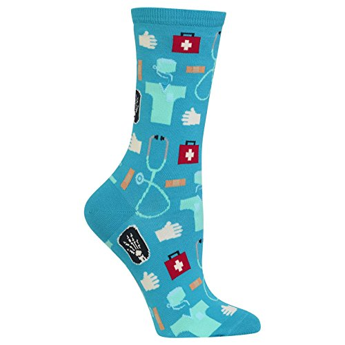 Hot Sox Women's Novelty Occupation Casual Crew Socks, Medical (Turquoise), Shoe Size: 4-10 Size: 9-11