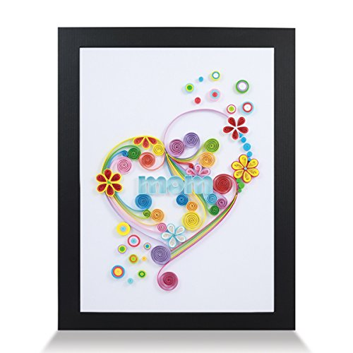 - Heart Mom Handmade Paper Quilling Artwork A4 Size, Framed 3D Wall Art or Stand Art as Unique Gift for Rustic Home Decor Quilled by Canadian Artist