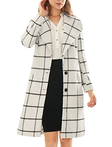 Allegra K Women Plaids Turn Down Collar Long Sleeves Worsted Coat White M