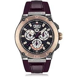Savoy Metropolitan - IP Rose Gold & IP Gun - Burgundy Strap Men's Watch