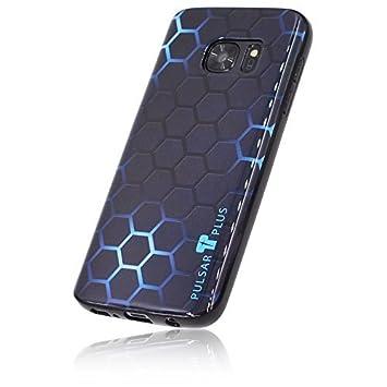 PULSARplus - Carcasa de TPU para Samsung Galaxy S5 y S5 Neo, diseño de Carbono, Color Negro, Resplandor Azul, Samsung Galaxy S7