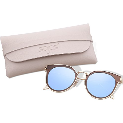 SojoS Fashion Polarized Sunglasses UV Mirrored Lens Oversize Metal Frame SJ1057 (C12 Gold Frame/Blue Grey Mirrored Lne with Cases, - Sunglasses Womens Top Rated