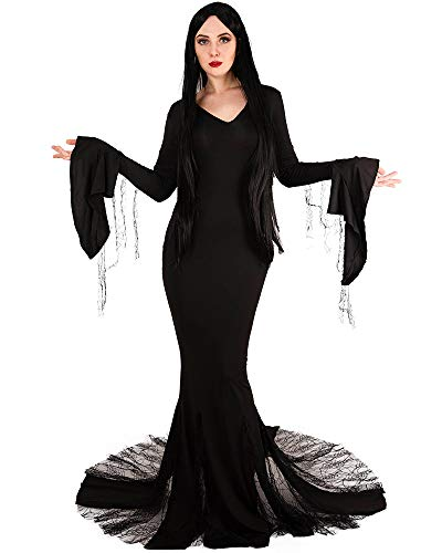 Miccostumes Women's Morticia Addams Dress Cosplay Costume (Black) ()